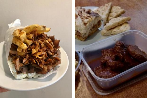 Beef kokkinisto, hoummus, pitta and pastichio from Yiamas Greek Taverna