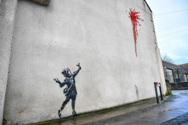 The Banksy artwork in Barton Hill, Bristol