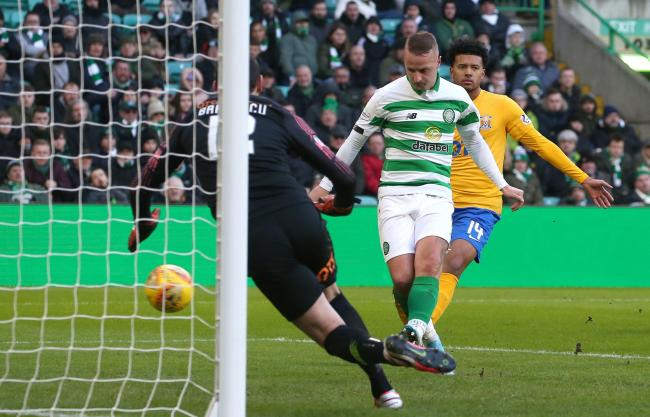 Celtic striker Leigh Griffiths scores his side's third goal against Kilmarnock
