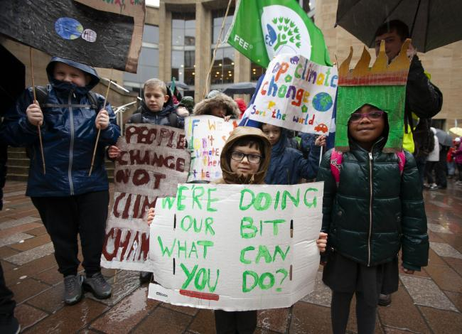 Glasgow Youth Climate Strike with pupils from Royston Primary School  Picture: Colin Mearns