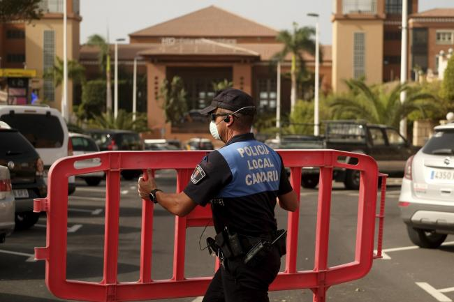 Police at the H10 Costa Adeje Palace hotel in Tenerife