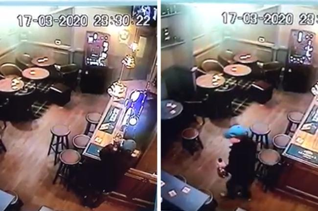 The man was caught on camera stealing hundreds from a Down's Syndrome Scotland collection in the Lea Rig pub
