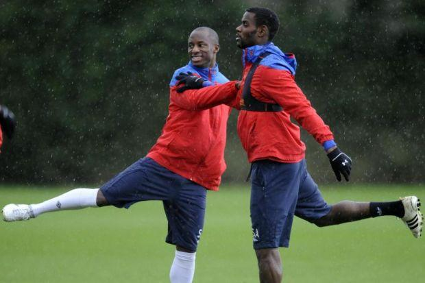 Sone Aluko training for Rangers alongside Maurice Edu