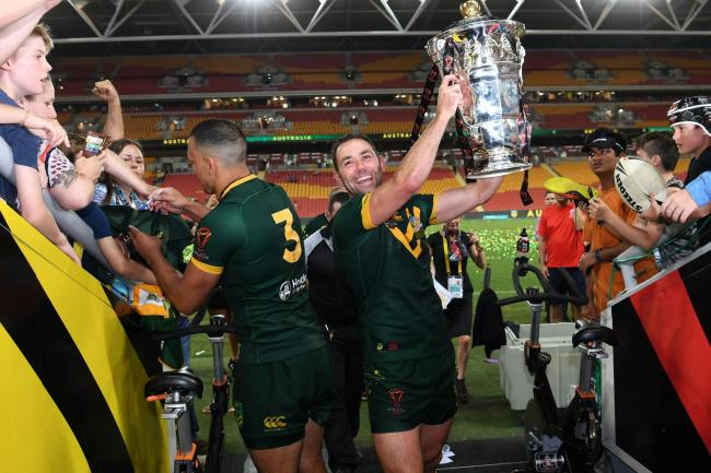 Australia's Cameron Smith poses with the trophy after the final of the 2017 World Cup