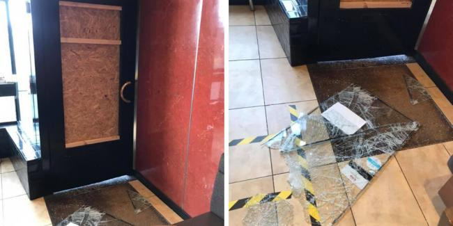 'Smashed glass, damaged door': Charity box stolen from takeaway after break-in (Images: Facebook - @ClayOvenGiffnock)