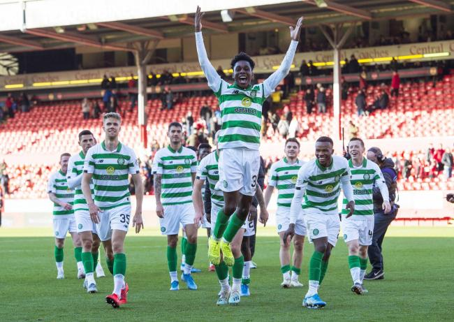 Celtic defender Jeremie Frimpong celebrates at Pittodrie