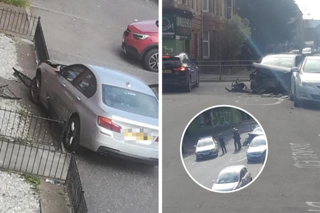 Cars crashed on Calder Street, Govanhill (pics: Siobhan Louise)