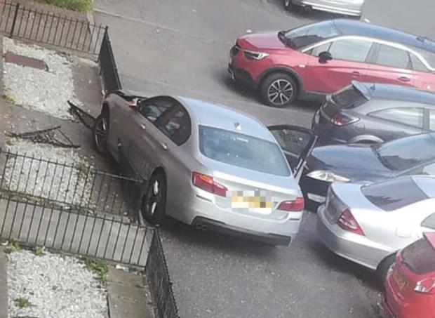 Glasgow Times: Cars crashed on Calder Street, Govanhill (pics: Siobhan Louise)