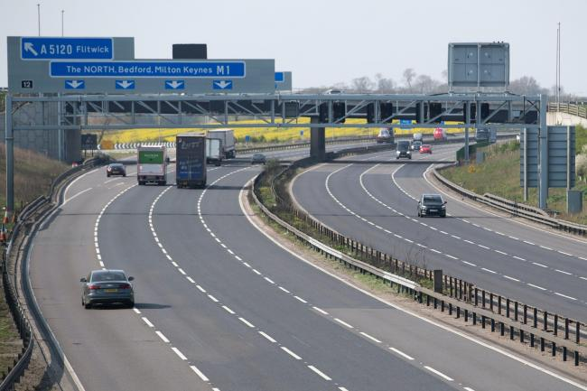 The M1 in Bedfordshire was among the many quiet roads in the UK on Thursday as there was no mass Easter getaway