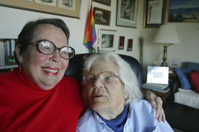 Phyllis Lyon, left, and her partner Del Martin