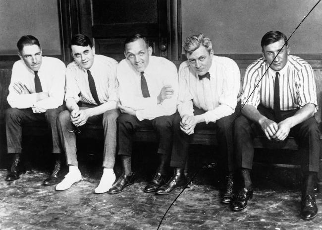 Swede Risberg, lawyer Michael Ahern, Buck Weaver, lawyer Thomas Nash and Happy Felsch outside the courtroom in 1919