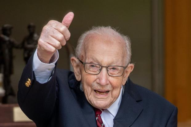 Glasgow Times: Colonel Tom Moore celebrating his 100th birthday (Ministry of Defence handout)