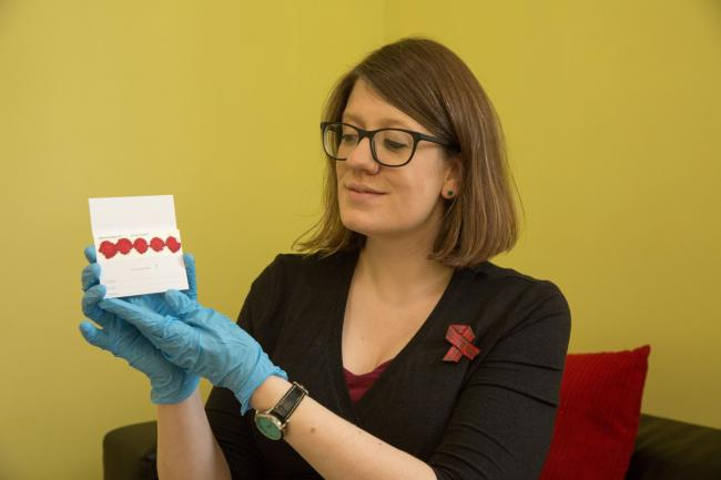 Claire Kofman, senior manager at Waverley Care in Glasgow with a clients blood test.  Turning Point in Glasgow offering blood tests World Aids Day... Picture Robert Perry 30th Nov 2018..Must credit photo to Robert Perry.FEE PAYABLE FOR REPRO USE.FEE PAYAB