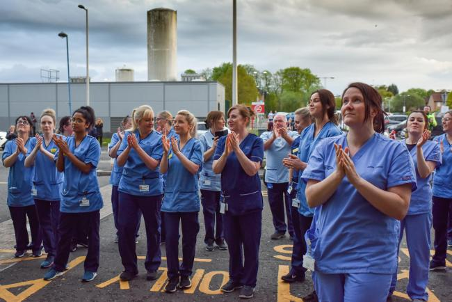 Queen Elizabeth Hospital participate in the Clap for Carers and key workers