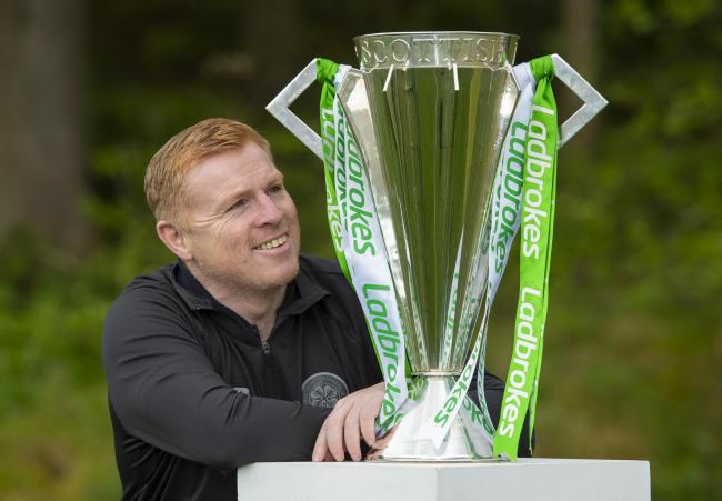 Celtic manager Neil Lennon with the Ladbrokes Premiership trophy this week. Photo: SNS Group/PA Wire.