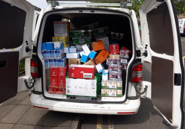 FareShare donations of essential food items being sent off to Springburn Parish Church where they are distributed among families and vulnerable people in the community