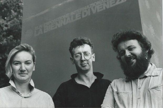 Kate Whiteford, David Mach and Arthur Watson in 1990