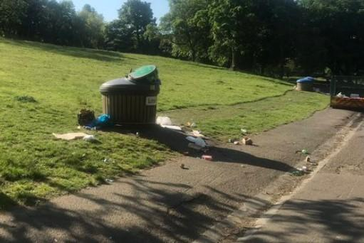 Pictures on social media showed litter scattered across Kelvingrove Park. Pic: Paola Pasino Cassidy