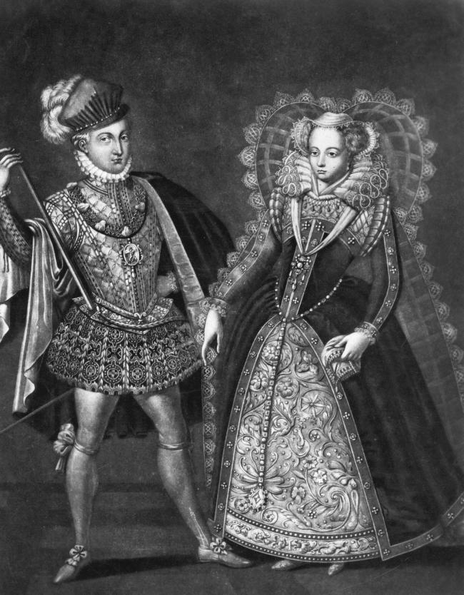 Mary, Queen of Scots (1542 - 1587) with her second husband and cousin Henry Stewart, Lord Darnley, circa 1565. Mary, the only daughter of James V and his second wife, Mary of Guise, had ascended to the throne when she was six days old but in 1548 was sent