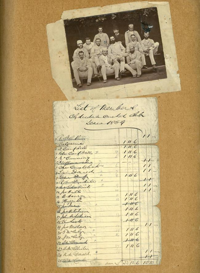 Clydesdale Cricket Club photo and members' list. Pic courtesy of Glasgow City Archives
