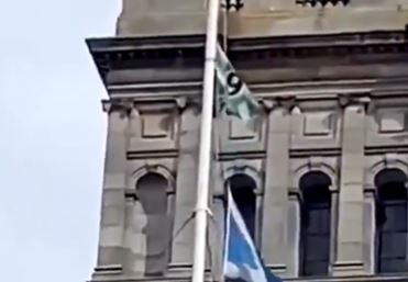 WATCH: Pranksters replace Saltire with nine in a row flag on Glasgow City Chambers