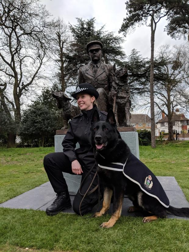 Glasgow Times: PC Carrie-Ann McNab and police dog Bodie