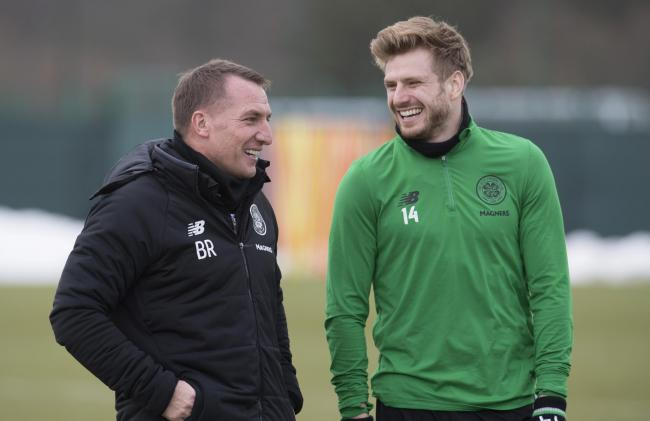 Former Celtic manager Brendan Rodgers with Stuart Armstrong