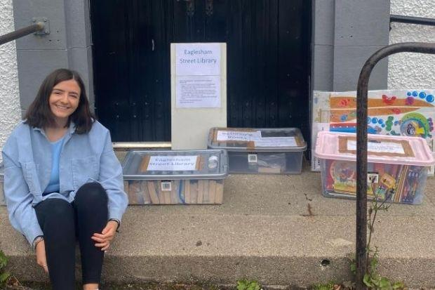 Freya Young at the Eaglesham Street Library which provides books, DVDs, CDs, games, stationery and more to locals