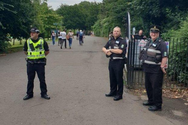 Police and council officers are stationed at the park's gates today (picture: Glasgow North West Police)