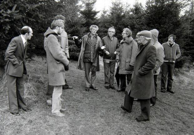 Glasgow Times: Members of the British UFO Research Association National Conference with Robert Taylor at the site he saw a UFO near Livingston, West Lothian, in 1979