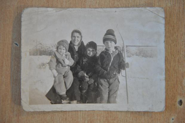 Dan with his cousins and aunt in Canada, c 1940