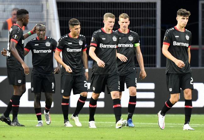 Moussa Diaby of Bayer Leverkusen celebrates after scoring his sides first goal during the UEFA Europa League round of 16 second leg match between Bayer 04 Leverkusen and Rangers