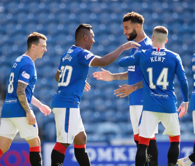 Rangers' Alfredo Morelos (left) celebrates scoring his side's second goal of the game with team-mate Connor Goldson during the Scottish Premiership match at Ibrox