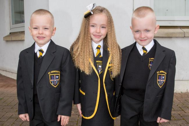 'It's a whirlwind - and a comedy sketch': Triplets among 6000 P1s off to first day of school