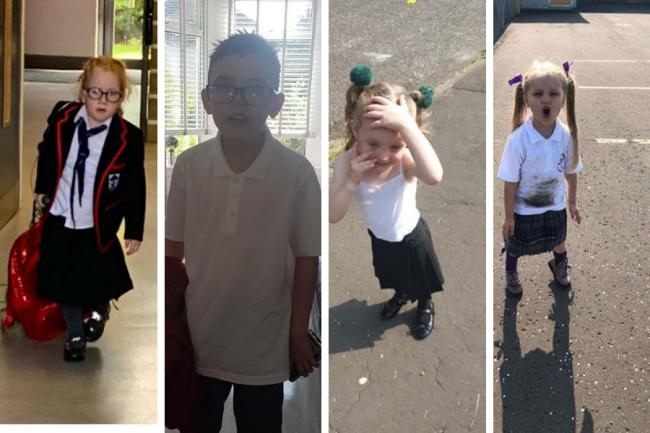 In pictures: Before and after on Glasgow kids on their first day back at school