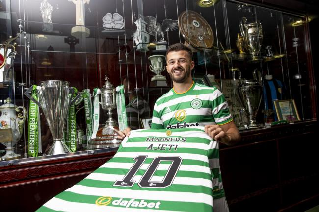 Albian Ajeti after signing for Celtic. Photo: Craig Williamson/SNS Group.