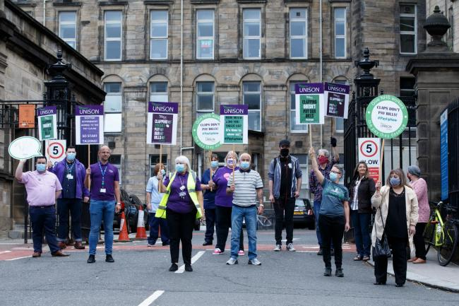 Glasgow health workers protest outside city hospitals in demand for higher wages