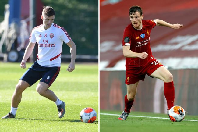Kieran Tierney of Arsenal, left, and Andy Robertson of Liverpool, right.