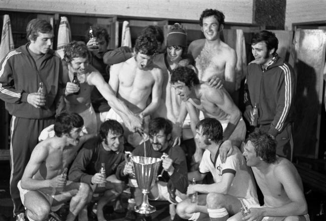 The Rangers players celebrate with the European Cup Winners' Cup trophy after victory over Moscow Dynamo