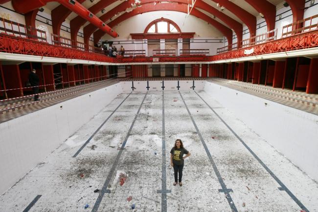 Open Doors Day at Govanhill Pool in Glasgow. Pictured in the main pool is Fatima Uygun, the director of Govanhill Baths community trust..