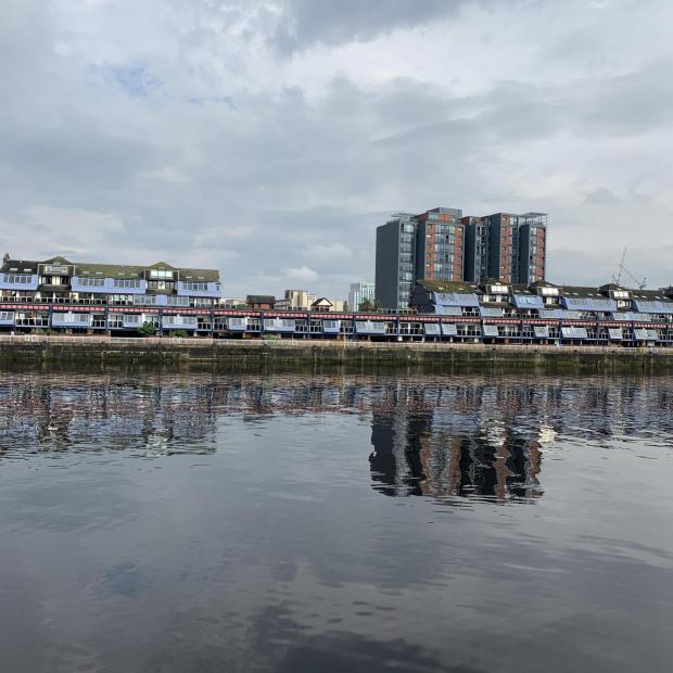Glasgow Times: Lancefield Quay flats after partial demolishment