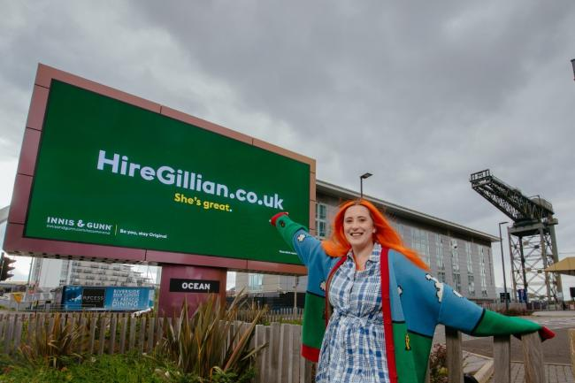 Gillian in front of one of the billboards