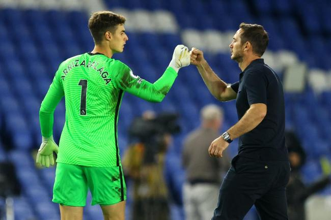 Chelsea manager Frank Lampard, right, maintains Kepa Arrizabalaga could still have a future at the club