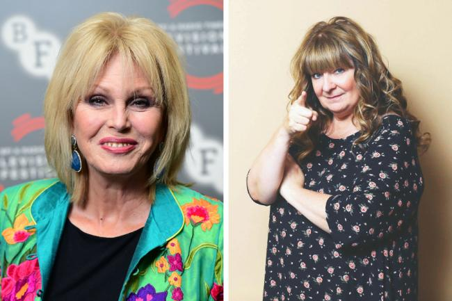 Janey Godley enjoys a break with Joanna Lumley while filming in Glasgow