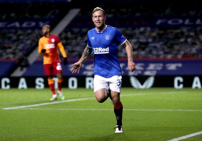 Rangers' Scott Arfield celebrates scoring his side's first goal at Ibrox. Photo: Ian MacNicol/NMC Pool/PA Wire.