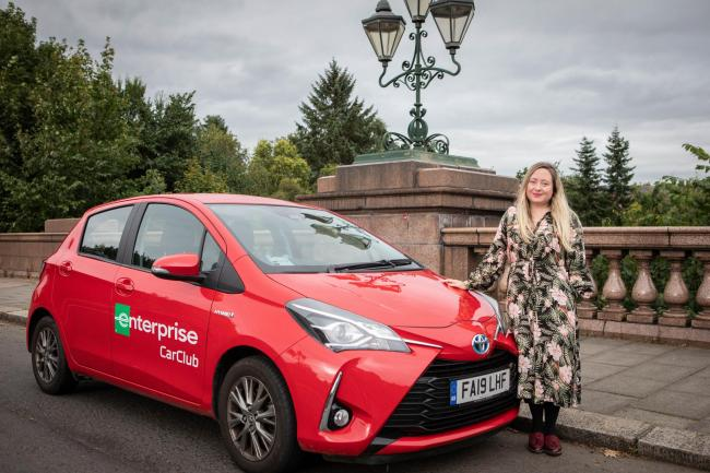 Herald and Times journalist Catriona Stewart with Enterprise Car Club car on Kirklee Bridge in Glasgow  Picture: Elaine Livingstone
