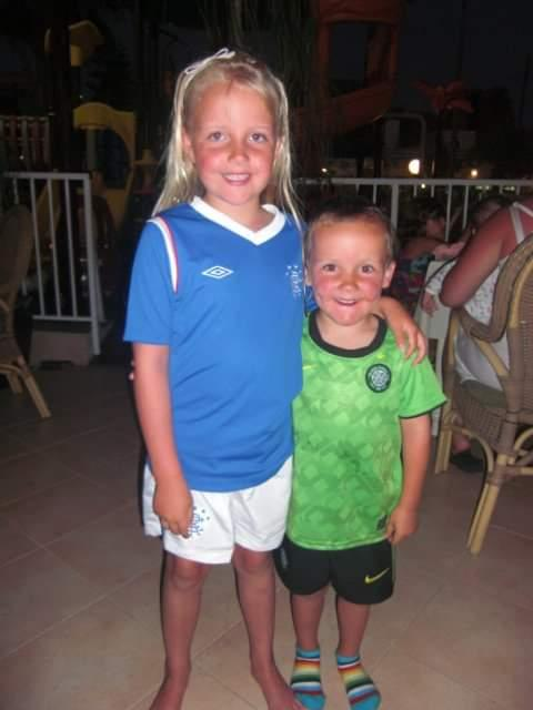 "Glasgow Times: ""Two different sides can still be friends and love one another is what the old firm should be about"" - Cousins Euan and Holly in Renfrew"