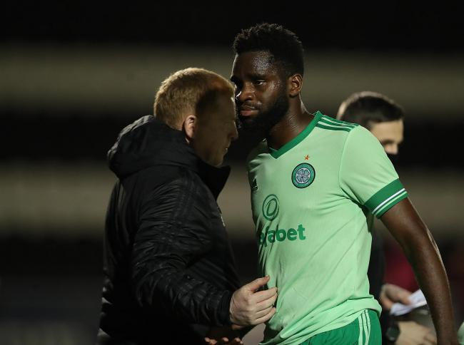 Odsonne Edouard of Celtic, right, with Neil Lennon last month. Photo by Ian MacNicol/Getty Images.