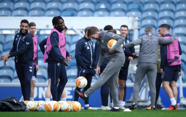 Steven Gerrard is seen during a training session at Ibrox