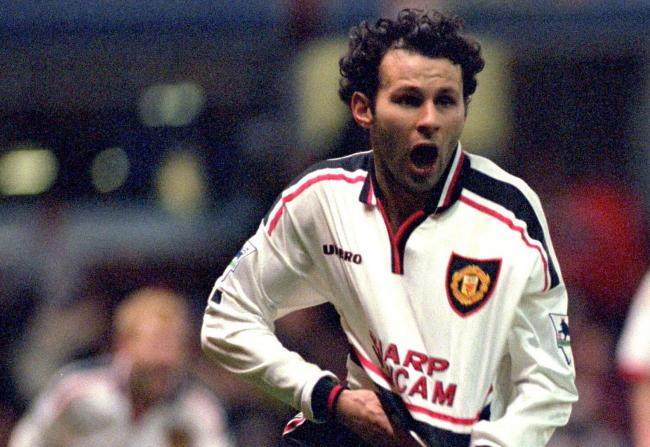 BIRMINGHAM, ENGLAND - APRIL 4:  Ryan Giggs of Man Utd celebrates after scoring the winning goal during the FA Cup  Semi Final match between Manchester United and Arsenal at Villa Park April 4, 1999 in Birmingham, England. Manchester United won the game 2-